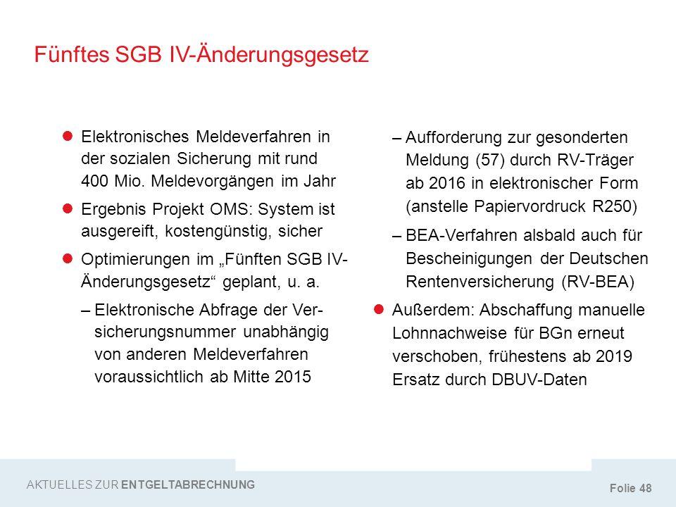 Folie 48 Fünftes SGB IV-Änderungsgesetz AKTUELLES ZUR ENTGELTABRECHNUNG Elektronisches Meldeverfahren in der sozialen Sicherung mit rund 400 Mio. Meld