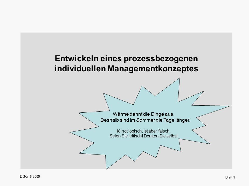 DGQ 6-2009 Blatt 1 Entwickeln eines prozessbezogenen individuellen Managementkonzeptes Wärme dehnt die Dinge aus. Deshalb sind im Sommer die Tage läng