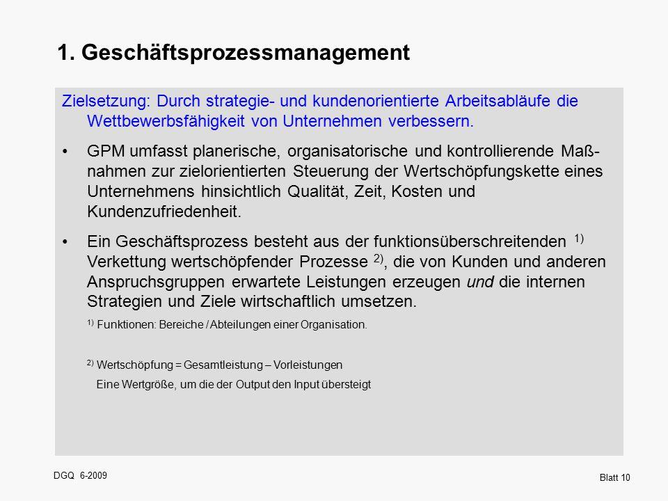 DGQ 6-2009 Blatt 10 1. Geschäftsprozessmanagement Zielsetzung: Durch strategie- und kundenorientierte Arbeitsabläufe die Wettbewerbsfähigkeit von Unte
