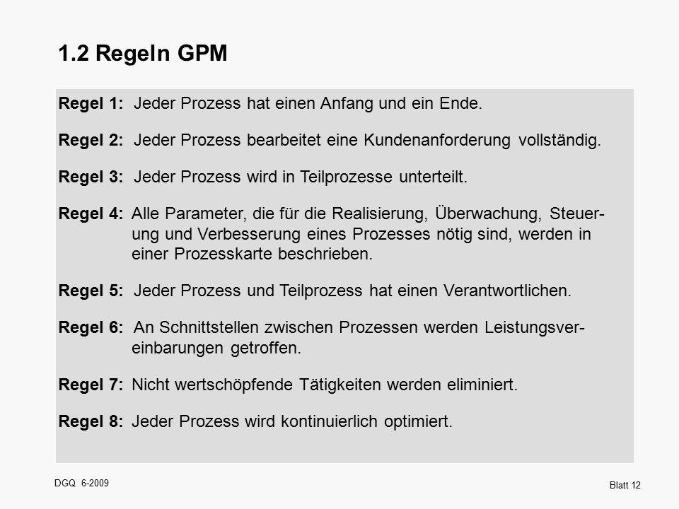 DGQ 6-2009 Blatt 12 1.2 Regeln GPM Regel 1: Jeder Prozess hat einen Anfang und ein Ende. Regel 2: Jeder Prozess bearbeitet eine Kundenanforderung voll