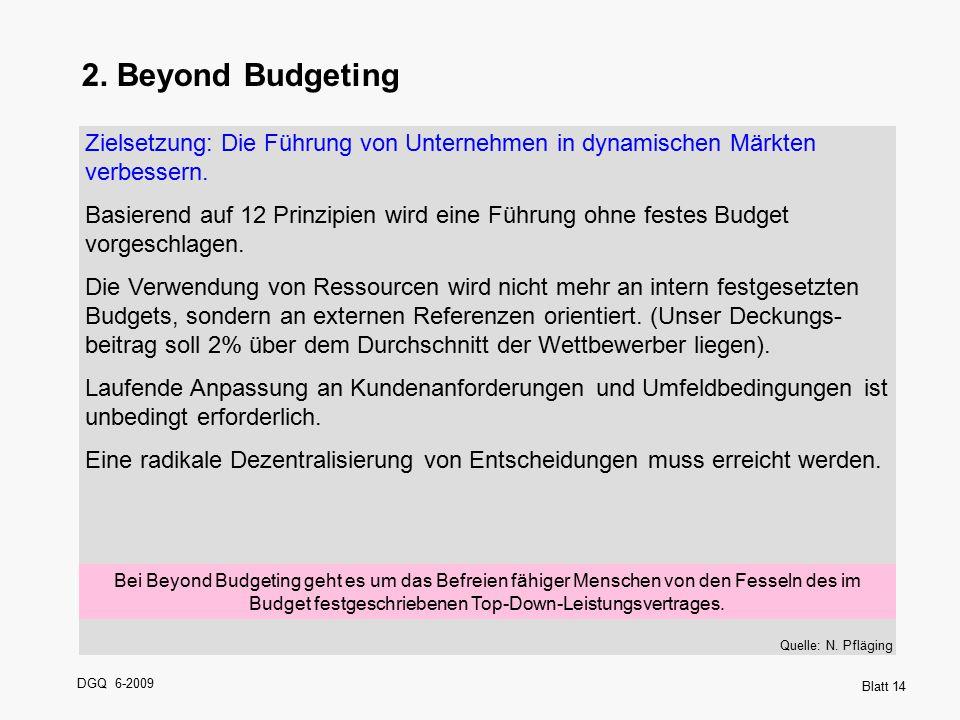 DGQ 6-2009 Blatt 14 2. Beyond Budgeting Zielsetzung: Die Führung von Unternehmen in dynamischen Märkten verbessern. Basierend auf 12 Prinzipien wird e