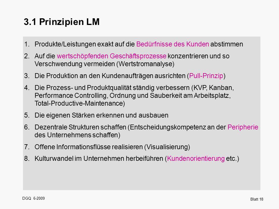 DGQ 6-2009 Blatt 18 1.Produkte/Leistungen exakt auf die Bedürfnisse des Kunden abstimmen 2.Auf die wertschöpfenden Geschäftsprozesse konzentrieren und