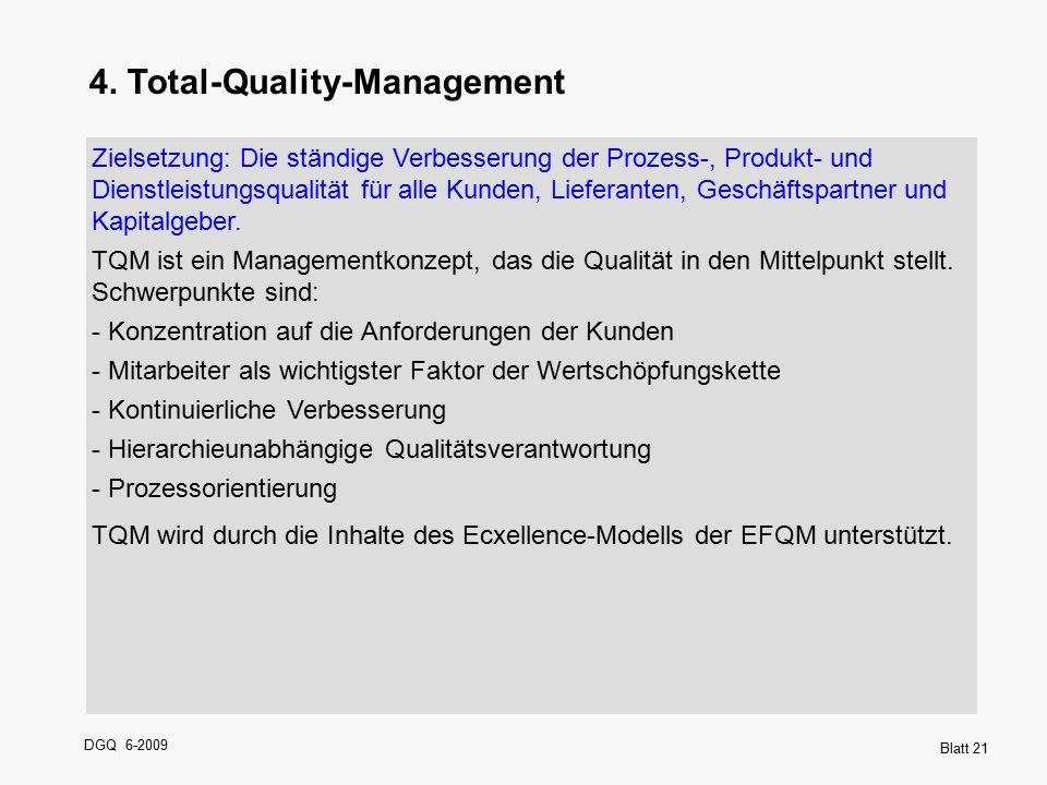 DGQ 6-2009 Blatt 21 4. Total-Quality-Management Zielsetzung: Die ständige Verbesserung der Prozess-, Produkt- und Dienstleistungsqualität für alle Kun