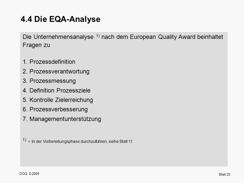 DGQ 6-2009 Blatt 25 4.4 Die EQA-Analyse Die Unternehmensanalyse 1) nach dem European Quality Award beinhaltet Fragen zu 1. Prozessdefinition 2. Prozes