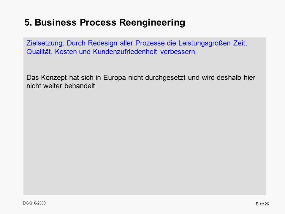DGQ 6-2009 Blatt 26 5. Business Process Reengineering Zielsetzung: Durch Redesign aller Prozesse die Leistungsgrößen Zeit, Qualität, Kosten und Kunden