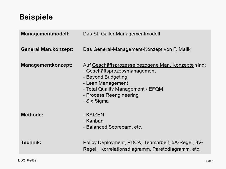 DGQ 6-2009 Blatt 5 Beispiele Managementmodell:Das St. Galler Managementmodell General Man.konzept:Das General-Management-Konzept von F. Malik Manageme