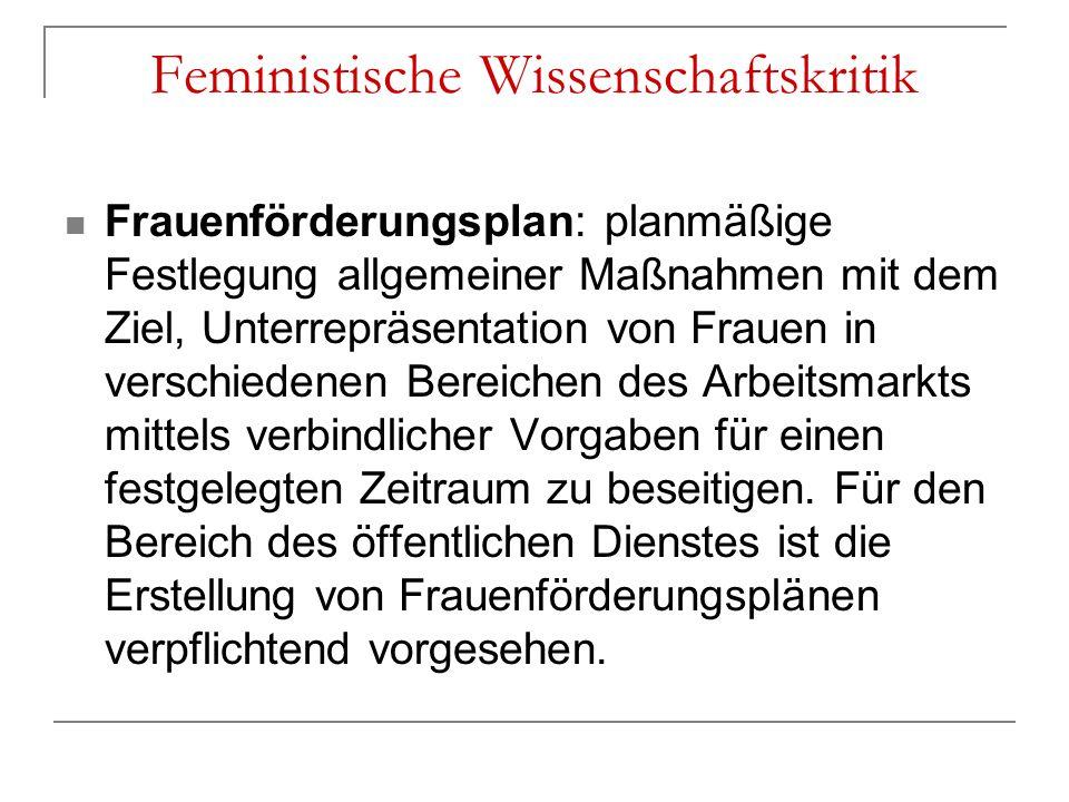 Frauenförderungsplan: planmäßige Festlegung allgemeiner Maßnahmen mit dem Ziel, Unterrepräsentation von Frauen in verschiedenen Bereichen des Arbeitsm