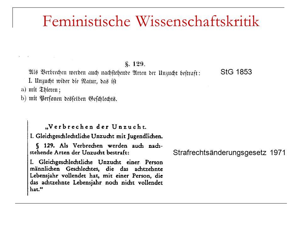 Feministische Wissenschaftskritik StG 1853 Strafrechtsänderungsgesetz 1971