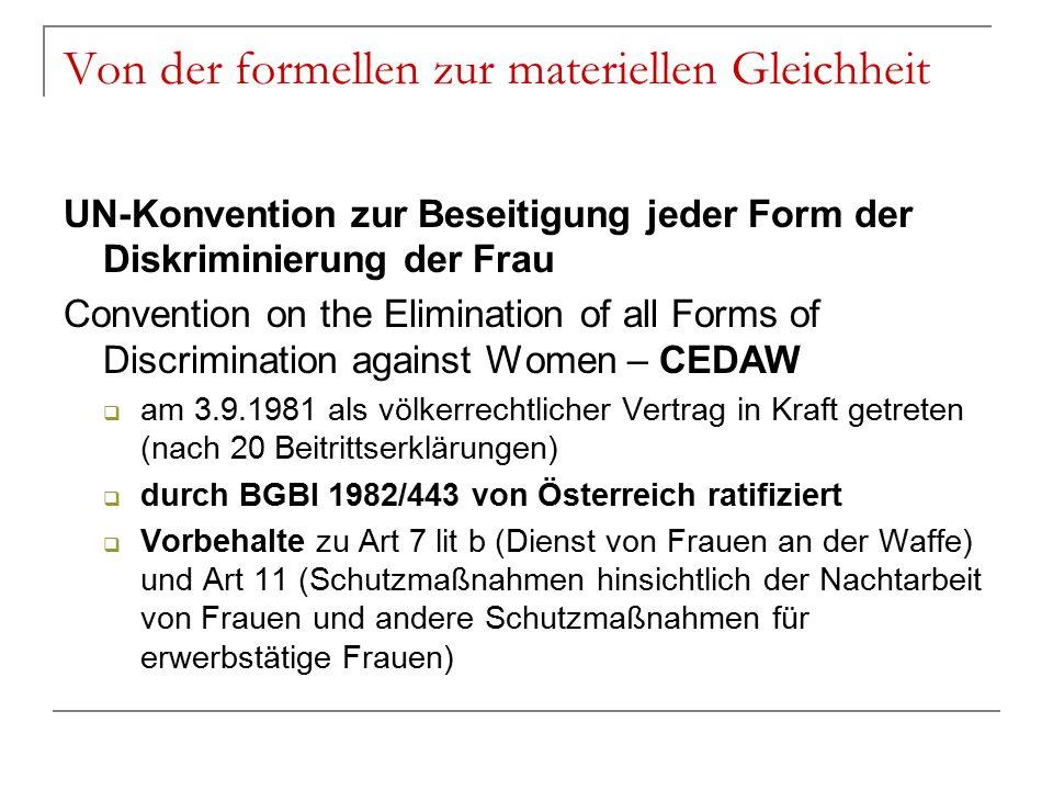 Von der formellen zur materiellen Gleichheit UN-Konvention zur Beseitigung jeder Form der Diskriminierung der Frau Convention on the Elimination of al