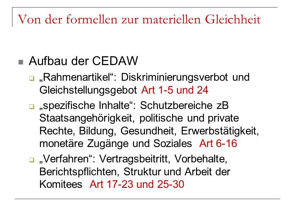 """Von der formellen zur materiellen Gleichheit Aufbau der CEDAW  """"Rahmenartikel"""": Diskriminierungsverbot und Gleichstellungsgebot Art 1-5 und 24  """"spe"""