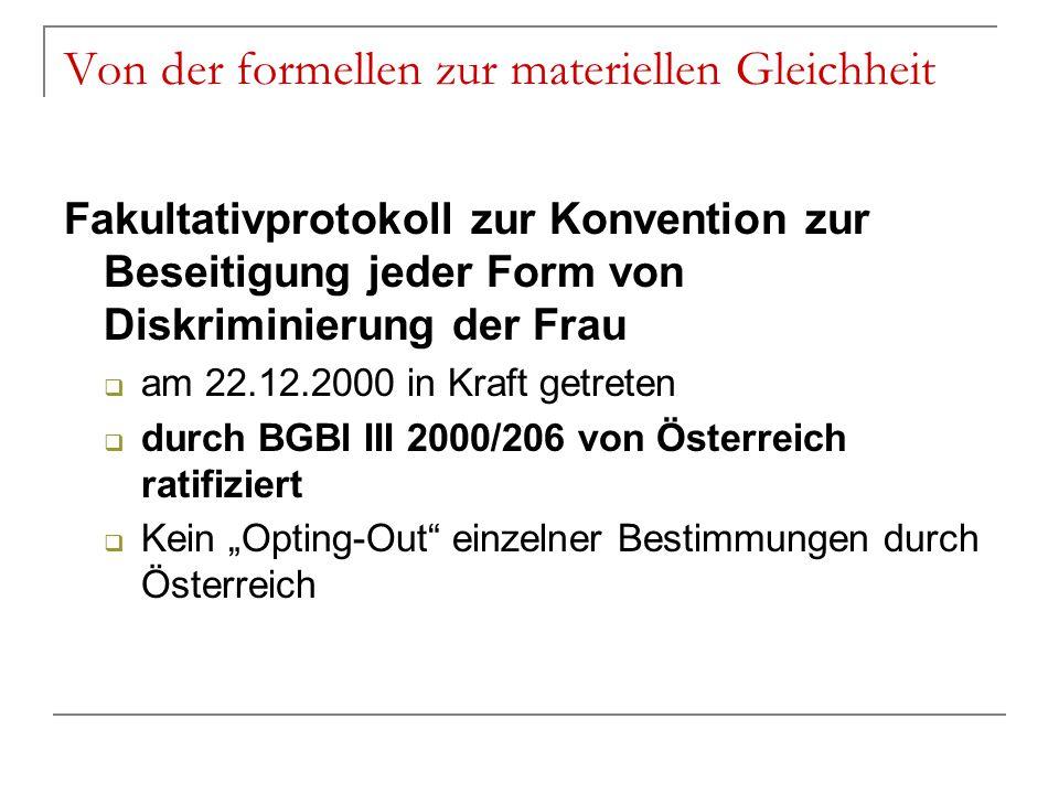 Von der formellen zur materiellen Gleichheit Fakultativprotokoll zur Konvention zur Beseitigung jeder Form von Diskriminierung der Frau  am 22.12.200