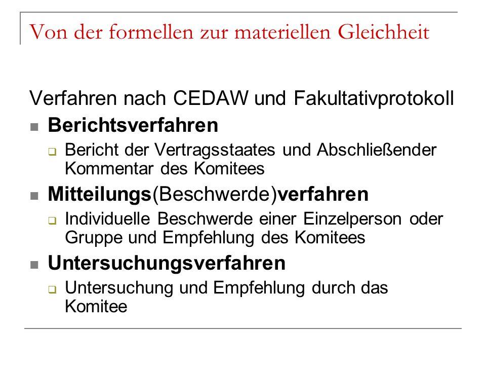 Von der formellen zur materiellen Gleichheit Verfahren nach CEDAW und Fakultativprotokoll Berichtsverfahren  Bericht der Vertragsstaates und Abschlie