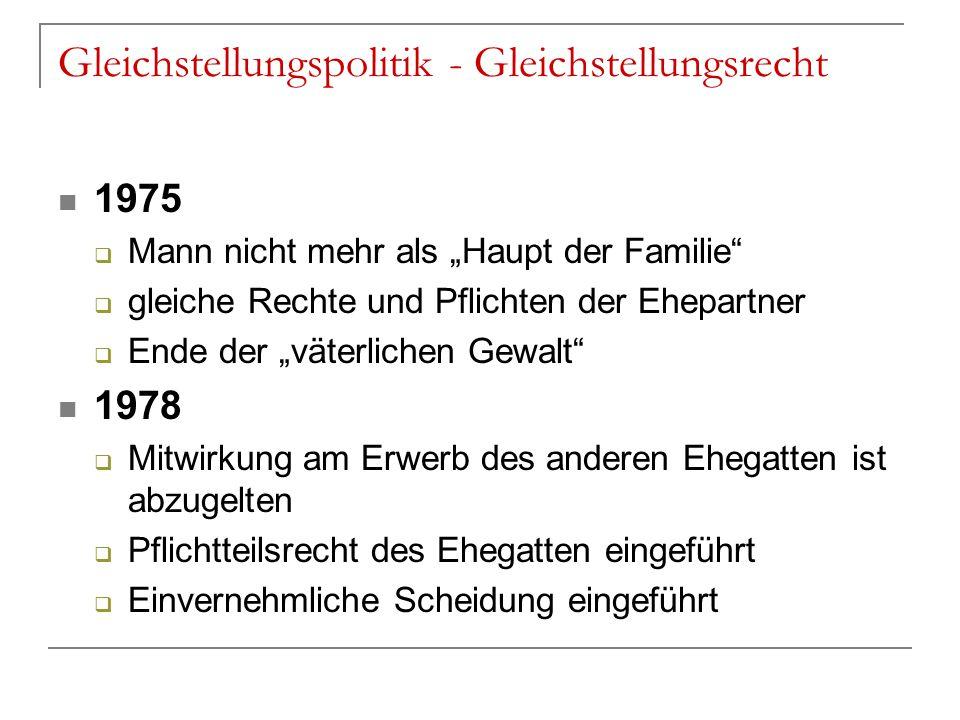 """Gleichstellungspolitik - Gleichstellungsrecht 1975  Mann nicht mehr als """"Haupt der Familie""""  gleiche Rechte und Pflichten der Ehepartner  Ende der"""