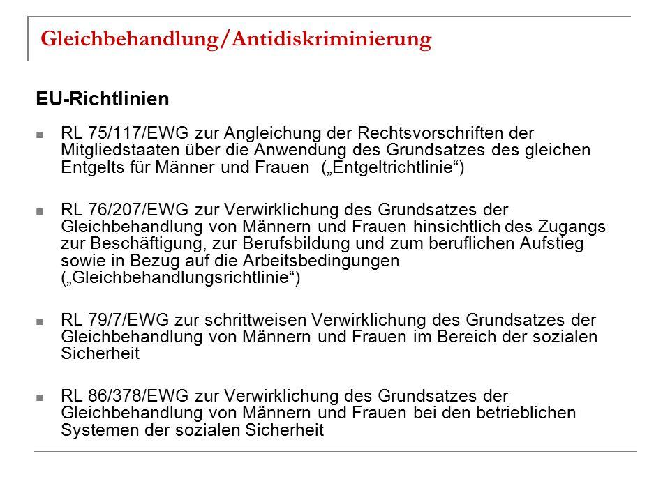 Gleichbehandlung/Antidiskriminierung EU-Richtlinien RL 75/117/EWG zur Angleichung der Rechtsvorschriften der Mitgliedstaaten über die Anwendung des Gr