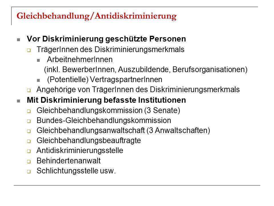 Gleichbehandlung/Antidiskriminierung Vor Diskriminierung geschützte Personen  TrägerInnen des Diskriminierungsmerkmals ArbeitnehmerInnen (inkl. Bewer