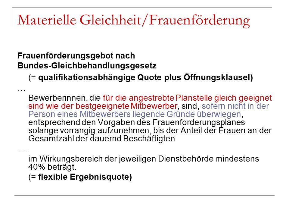 Materielle Gleichheit/Frauenförderung Frauenförderungsgebot nach Bundes-Gleichbehandlungsgesetz (= qualifikationsabhängige Quote plus Öffnungsklausel)