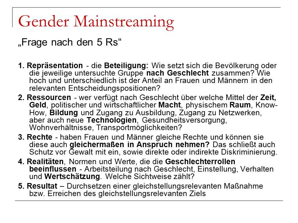 """Gender Mainstreaming """"Frage nach den 5 Rs"""" 1. Repräsentation - die Beteiligung: Wie setzt sich die Bevölkerung oder die jeweilige untersuchte Gruppe n"""