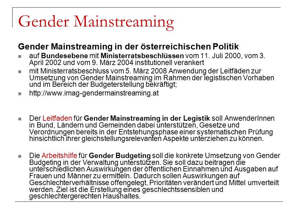 Gender Mainstreaming Gender Mainstreaming in der österreichischen Politik auf Bundesebene mit Ministerratsbeschlüssen vom 11. Juli 2000, vom 3. April