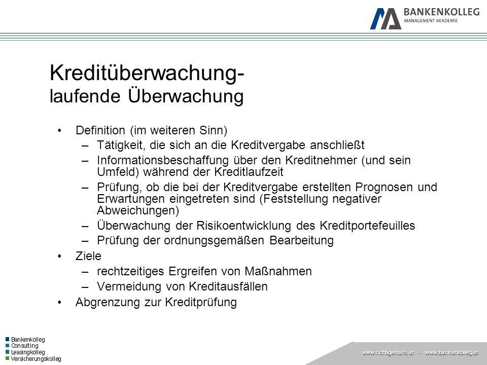 www.richtigerkurs. at www.richtigerkurs. at - www.bankenkolleg.at Kreditüberwachung- laufende Überwachung Definition (im weiteren Sinn) –Tätigkeit, di