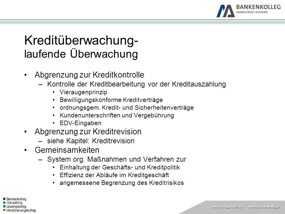 www.richtigerkurs. at www.richtigerkurs. at - www.bankenkolleg.at Kreditüberwachung- laufende Überwachung Abgrenzung zur Kreditkontrolle –Kontrolle de