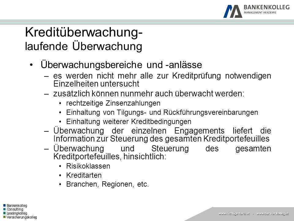 www.richtigerkurs. at www.richtigerkurs. at - www.bankenkolleg.at Kreditüberwachung- laufende Überwachung Überwachungsbereiche und -anlässe –es werden