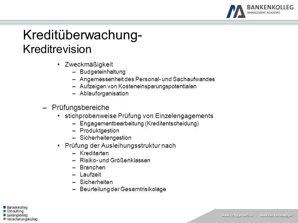 www.richtigerkurs. at www.richtigerkurs. at - www.bankenkolleg.at Kreditüberwachung- Kreditrevision Zweckmäßigkeit –Budgeteinhaltung –Angemessenheit d