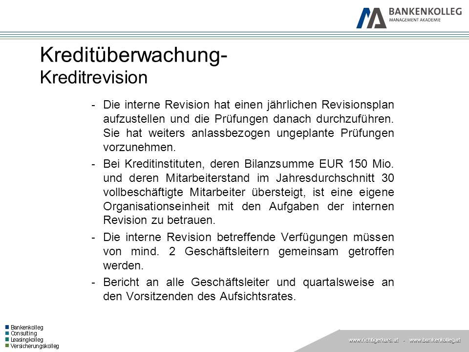 www.richtigerkurs. at www.richtigerkurs. at - www.bankenkolleg.at Kreditüberwachung- Kreditrevision - Die interne Revision hat einen jährlichen Revisi