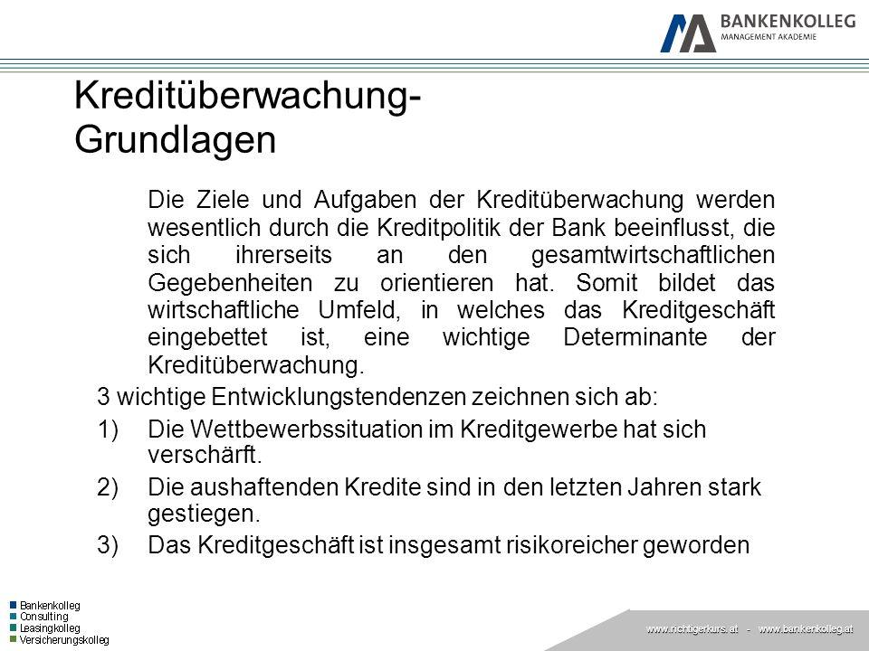 www.richtigerkurs. at www.richtigerkurs. at - www.bankenkolleg.at Kreditüberwachung- Grundlagen Die Ziele und Aufgaben der Kreditüberwachung werden we