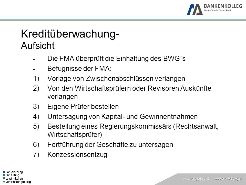 www.richtigerkurs. at www.richtigerkurs. at - www.bankenkolleg.at Kreditüberwachung- Aufsicht - Die FMA überprüft die Einhaltung des BWG´s - Befugniss