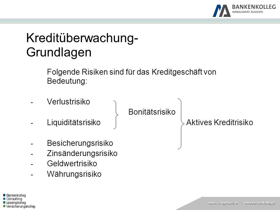 www.richtigerkurs. at www.richtigerkurs. at - www.bankenkolleg.at Kreditüberwachung- Grundlagen Folgende Risiken sind für das Kreditgeschäft von Bedeu