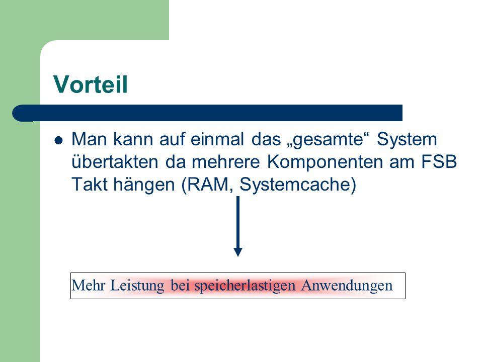 """Vorteil Man kann auf einmal das """"gesamte"""" System übertakten da mehrere Komponenten am FSB Takt hängen (RAM, Systemcache) Mehr Leistung bei speicherlas"""