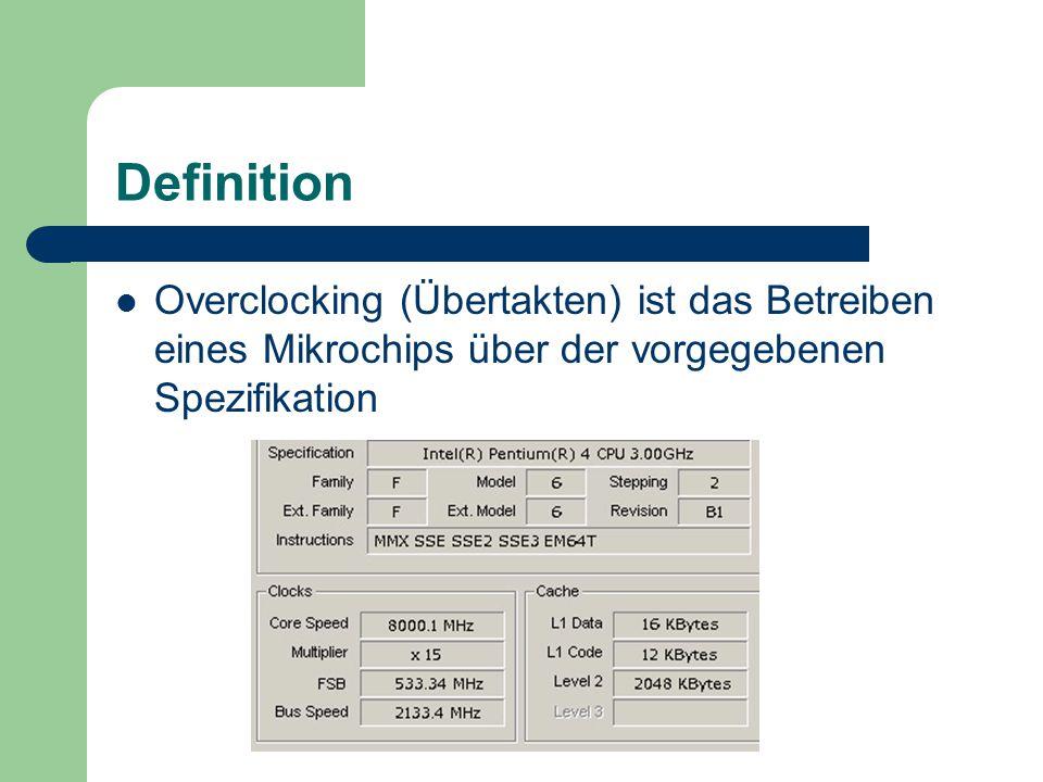 Definition Overclocking (Übertakten) ist das Betreiben eines Mikrochips über der vorgegebenen Spezifikation