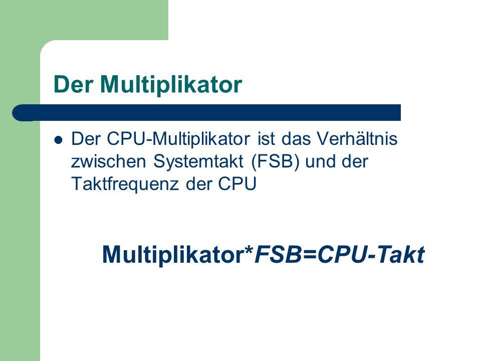 Vorteil Man kann die CPU separat übertakten ohne etwas anderes im System zu verändern Multiplikator++Höherer CPU-Takt =