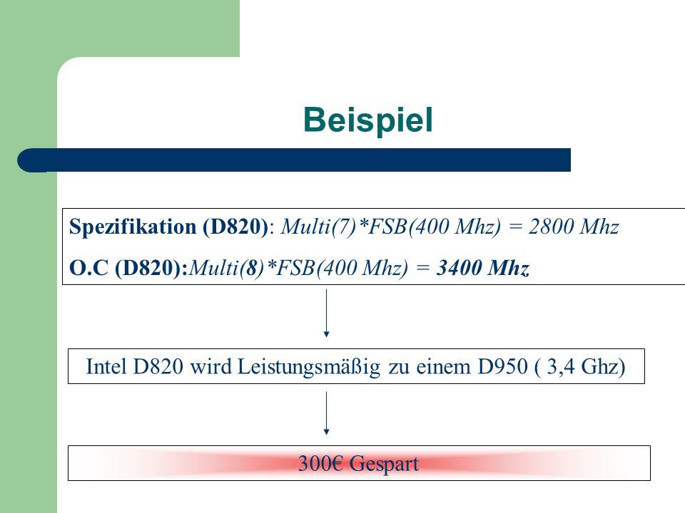 Beispiel Spezifikation (D820): Multi(7)*FSB(400 Mhz) = 2800 Mhz O.C (D820):Multi(8)*FSB(400 Mhz) = 3400 Mhz Intel D820 wird Leistungsmäßig zu einem D9