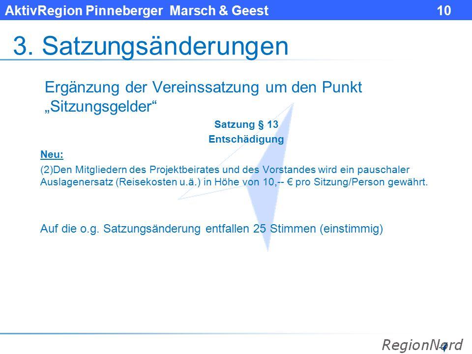 """AktivRegion Pinneberger Marsch & Geest 10 3. Satzungsänderungen Ergänzung der Vereinssatzung um den Punkt """"Sitzungsgelder"""" Satzung § 13 Entschädigung"""