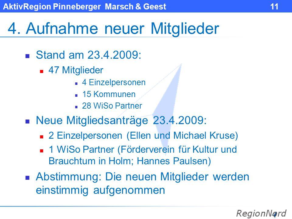AktivRegion Pinneberger Marsch & Geest 11 4. Aufnahme neuer Mitglieder Stand am 23.4.2009: 47 Mitglieder 4 Einzelpersonen 15 Kommunen 28 WiSo Partner
