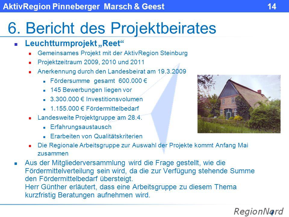 """AktivRegion Pinneberger Marsch & Geest 14 6. Bericht des Projektbeirates Leuchtturmprojekt """"Reet"""" Gemeinsames Projekt mit der AktivRegion Steinburg Pr"""