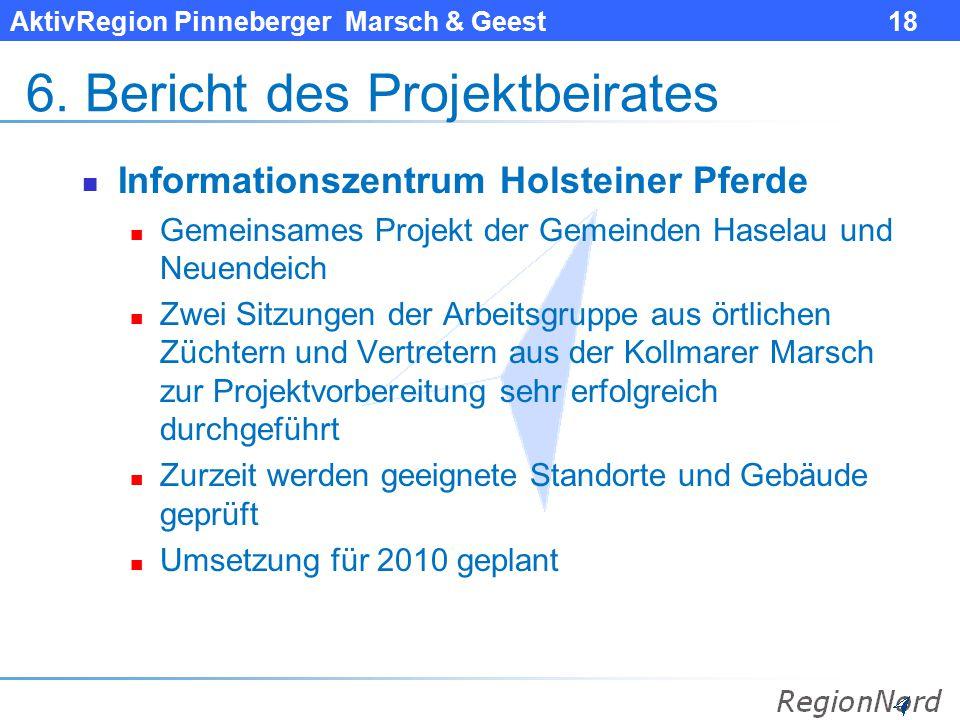 AktivRegion Pinneberger Marsch & Geest 18 6. Bericht des Projektbeirates Informationszentrum Holsteiner Pferde Gemeinsames Projekt der Gemeinden Hasel