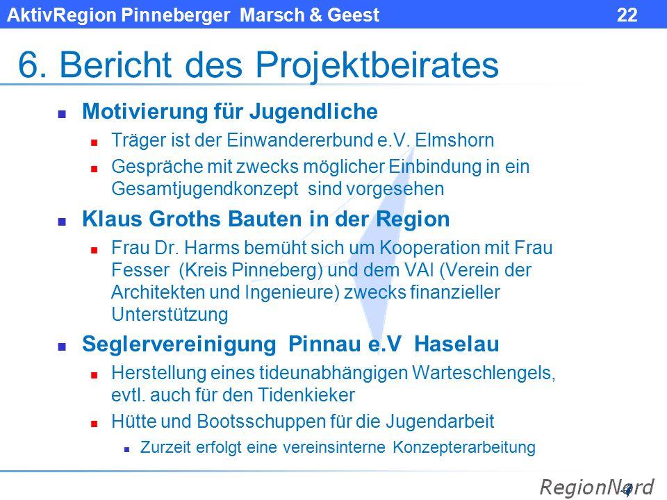 AktivRegion Pinneberger Marsch & Geest 22 6. Bericht des Projektbeirates Motivierung für Jugendliche Träger ist der Einwandererbund e.V. Elmshorn Gesp