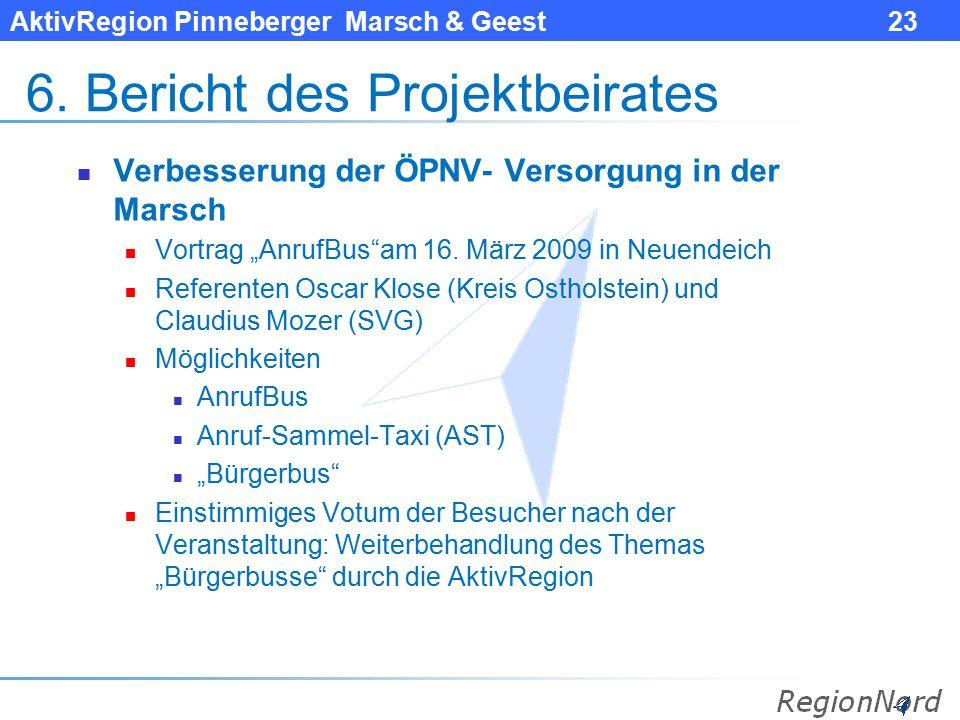 """AktivRegion Pinneberger Marsch & Geest 23 6. Bericht des Projektbeirates Verbesserung der ÖPNV- Versorgung in der Marsch Vortrag """"AnrufBus""""am 16. März"""