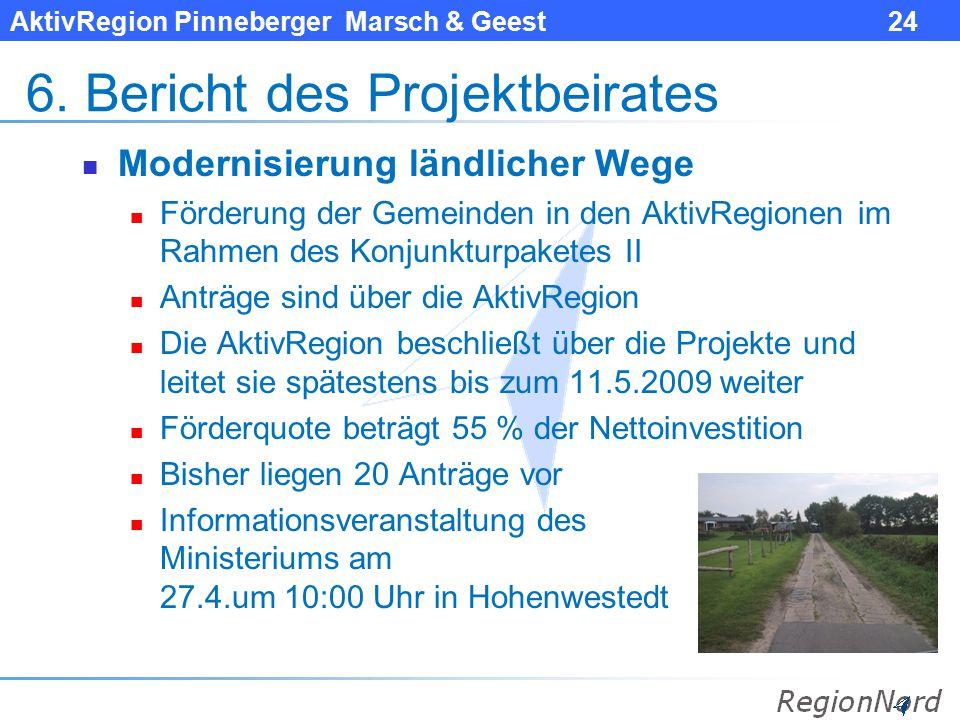 AktivRegion Pinneberger Marsch & Geest 24 6. Bericht des Projektbeirates Modernisierung ländlicher Wege Förderung der Gemeinden in den AktivRegionen i