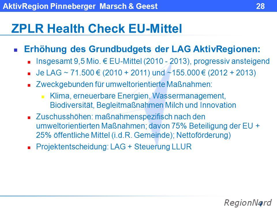 AktivRegion Pinneberger Marsch & Geest 28 ZPLR Health Check EU-Mittel Erhöhung des Grundbudgets der LAG AktivRegionen: Insgesamt 9,5 Mio. € EU-Mittel