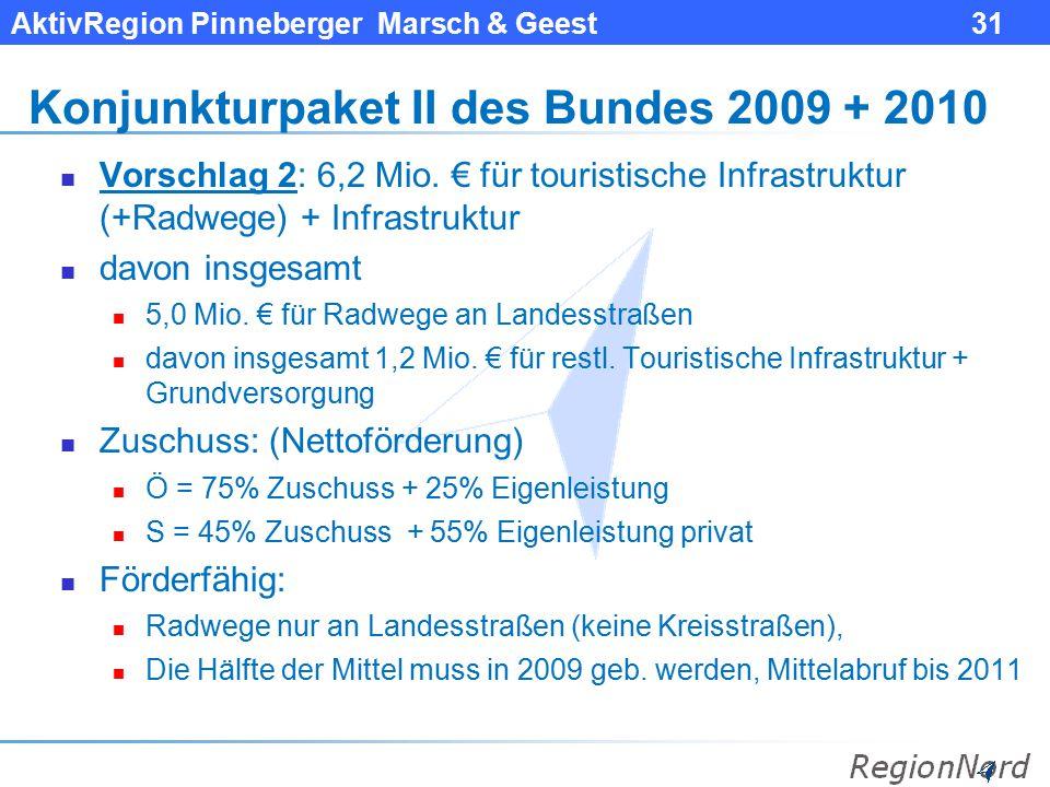AktivRegion Pinneberger Marsch & Geest 31 Konjunkturpaket II des Bundes 2009 + 2010 Vorschlag 2: 6,2 Mio. € für touristische Infrastruktur (+Radwege)