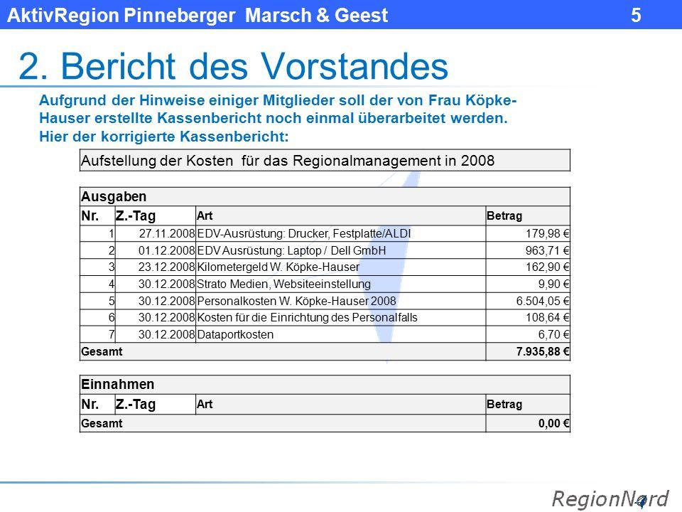 AktivRegion Pinneberger Marsch & Geest 5 2. Bericht des Vorstandes Aufgrund der Hinweise einiger Mitglieder soll der von Frau Köpke- Hauser erstellte