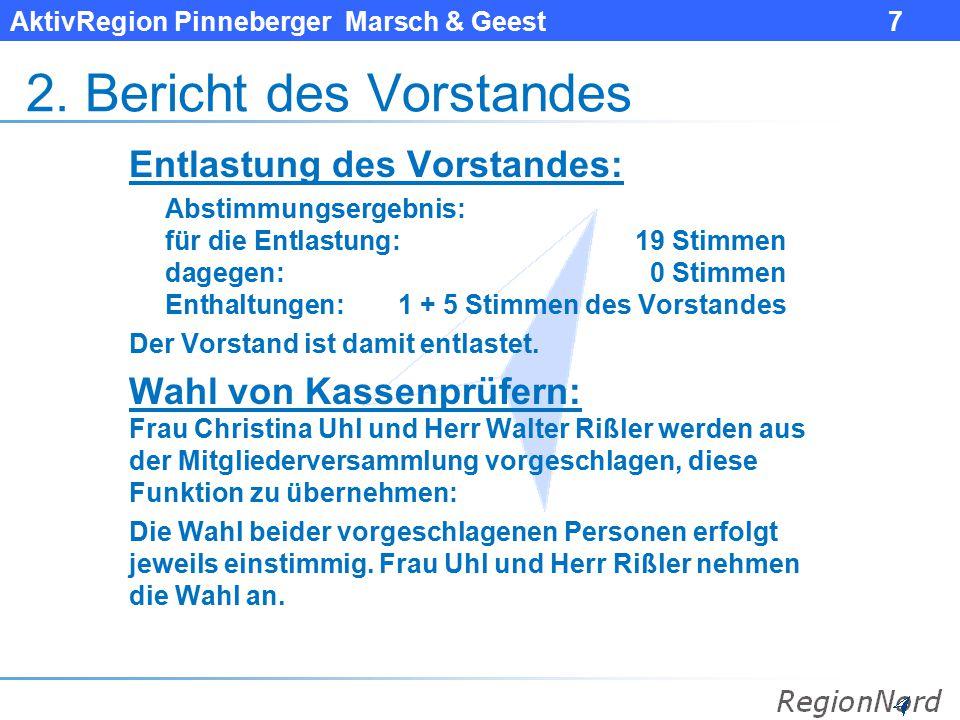 AktivRegion Pinneberger Marsch & Geest 7 2. Bericht des Vorstandes Entlastung des Vorstandes: Abstimmungsergebnis: für die Entlastung: 19 Stimmen dage
