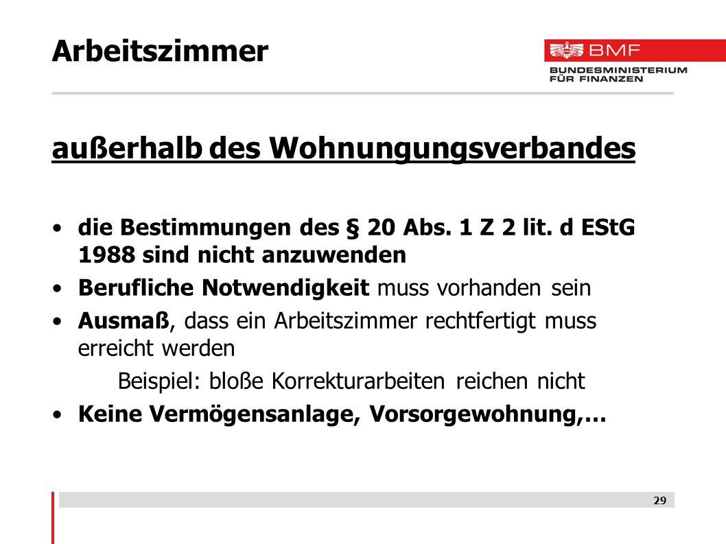 Arbeitszimmer außerhalb des Wohnungungsverbandes die Bestimmungen des § 20 Abs. 1 Z 2 lit. d EStG 1988 sind nicht anzuwenden Berufliche Notwendigkeit