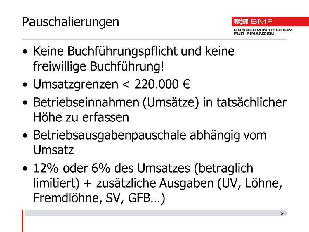 Pauschalierungen Keine Buchführungspflicht und keine freiwillige Buchführung! Umsatzgrenzen < 220.000 € Betriebseinnahmen (Umsätze) in tatsächlicher H