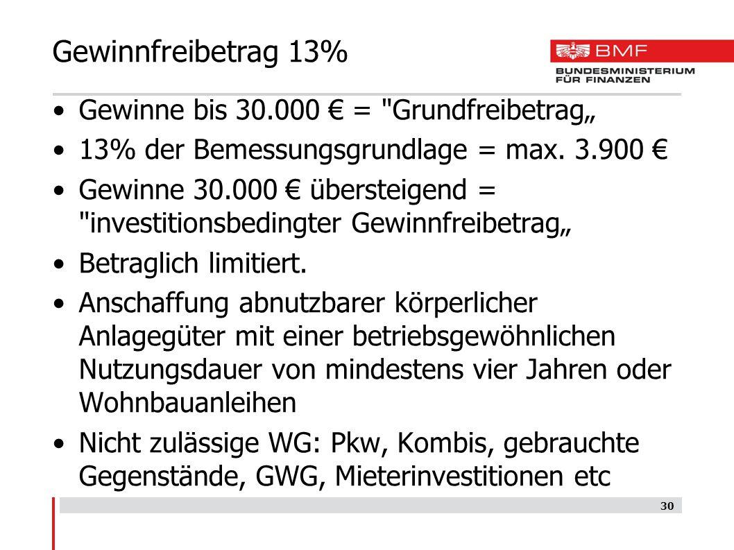 Gewinnfreibetrag 13% Gewinne bis 30.000 € =