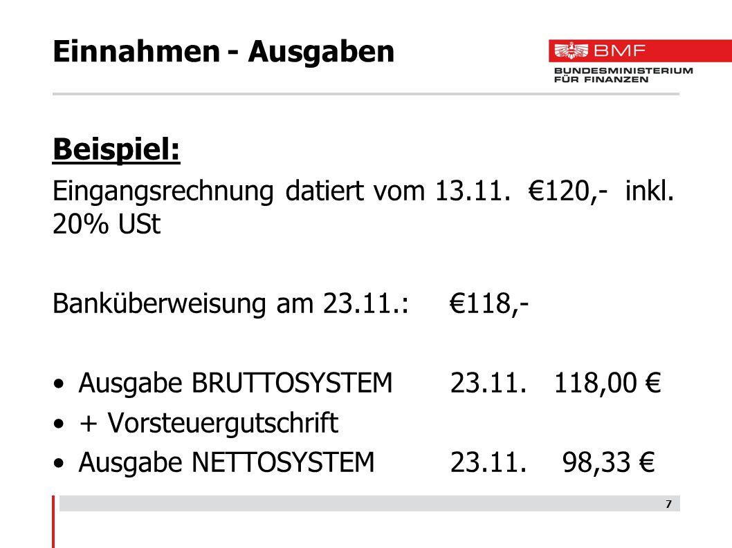 Einnahmen - Ausgaben Beispiel: Eingangsrechnung datiert vom 13.11. €120,- inkl. 20% USt Banküberweisung am 23.11.: €118,- Ausgabe BRUTTOSYSTEM23.11. 1