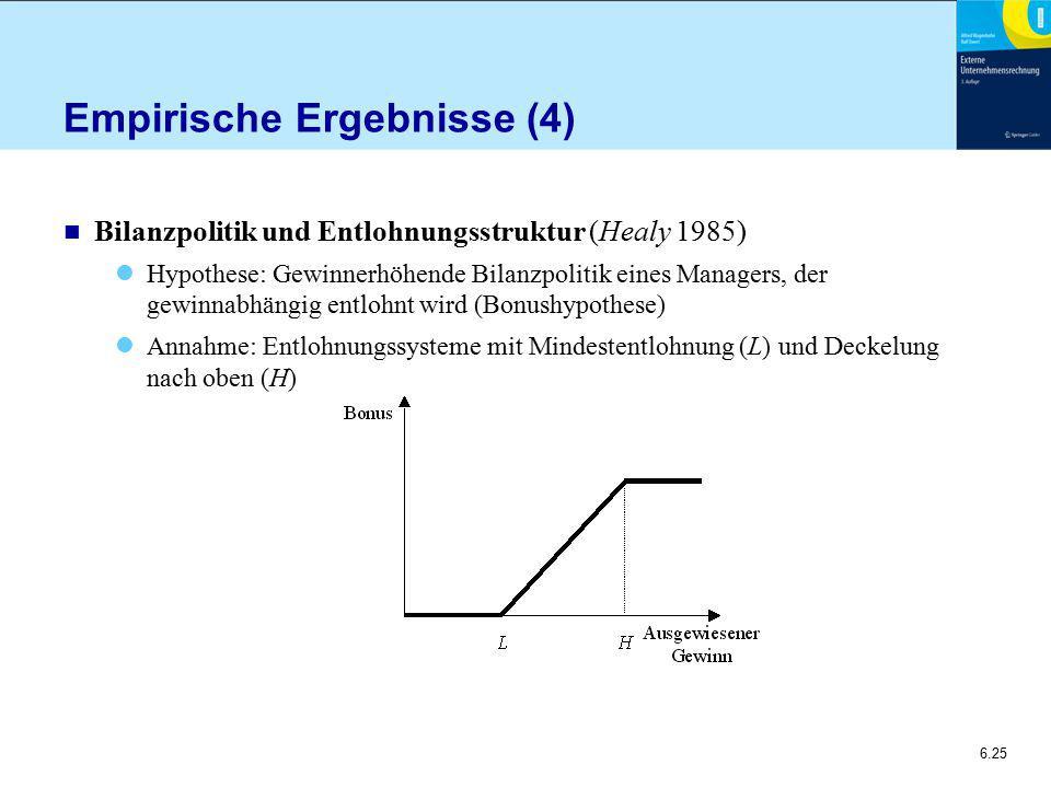 6.25 Empirische Ergebnisse (4) n Bilanzpolitik und Entlohnungsstruktur (Healy 1985) Hypothese: Gewinnerhöhende Bilanzpolitik eines Managers, der gewinnabhängig entlohnt wird (Bonushypothese) Annahme: Entlohnungssysteme mit Mindestentlohnung (L) und Deckelung nach oben (H)